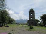 Ruins of Cagsawa Church (with Mt. Mayon covered by clouds at the background)