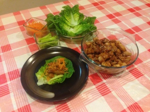 Chicken Teriyaki with Romaine Lettuce, Carrot Strips and Cucumber Sticks